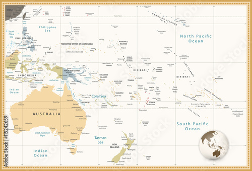 Fotografie, Obraz Australia and Oceania detailed political map retro colors