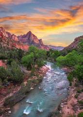 Obraz na SzkleZion National Park, Virgin River, scenic sunset,