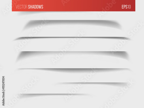 Realistic vector shadow, set of transparent realistic linear paper shadow  vector illustration Wall mural
