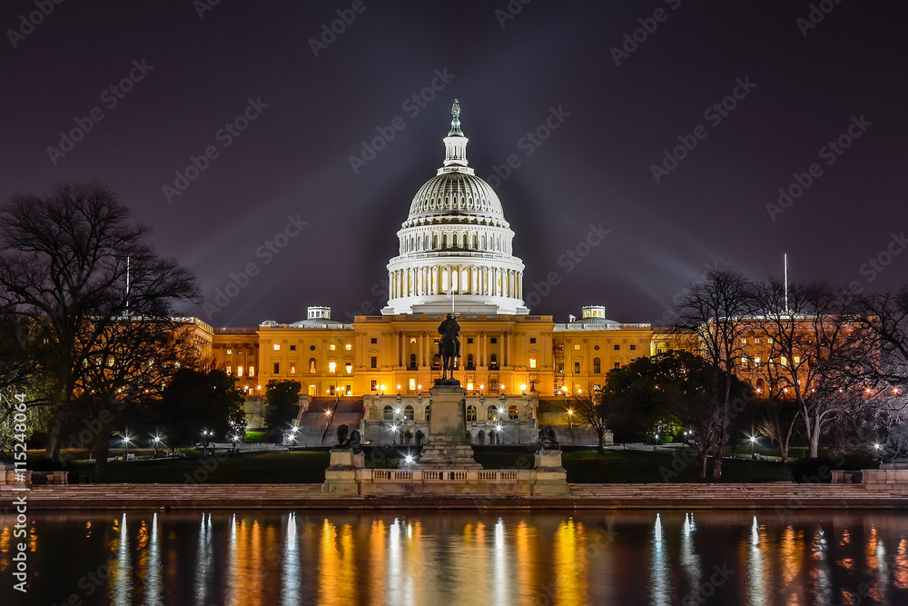 Fototapety, obrazy: Capitol building, night scenic, Washington DC
