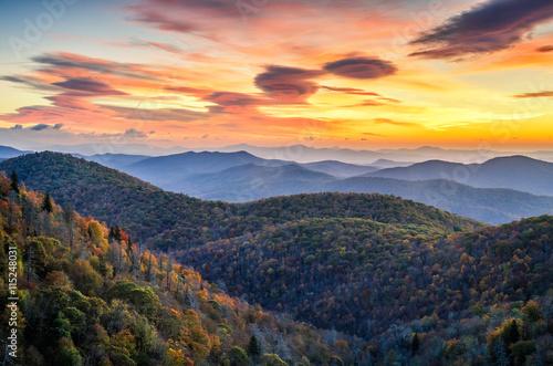 Recess Fitting Mountains Blue Ridge Mountains, autumn scenic sunrise, North Carolina