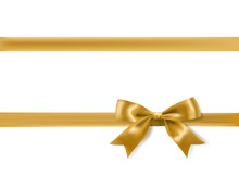 Golden Bow Decoration On White...