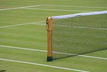 Wooden Net Post On Grass Court At Wimbledon