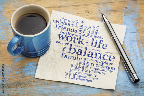 Photo work life balance word cloud