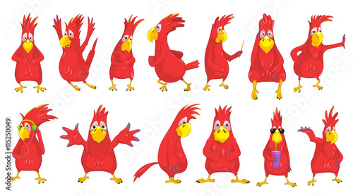 Vector set of funny parrots illustrations. Tablou Canvas