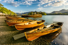 Wooden Rowing Boats Lined Up O...
