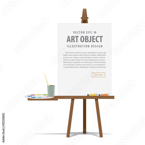 Art easel and canvas with Equipment for painting for advertising Wallpaper Mural
