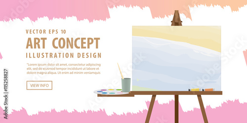 Banner Art easel and canvas with Equipment for painting for adve Canvas Print