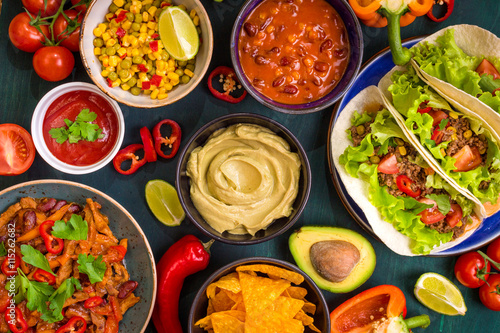 Mixed mexican food Fotobehang