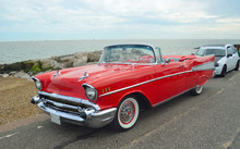 Classic Red Convertible On Show On Felixstowe Seafront.