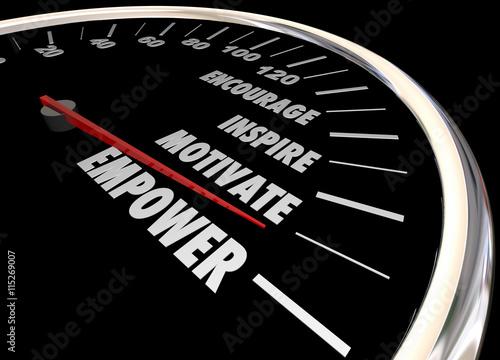 Fotografía  Empower Encourage Motivate Inspire Speedometer 3d Illustration