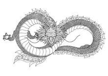 Dragon Sign Symbol Logo, Infinity Shape, Hand Drawn Vector