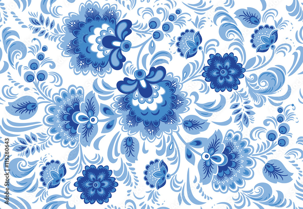 Vector seamless pattern in traditional russian gzhel style