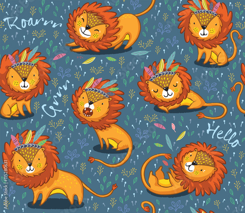 funny-lions-seamless-vector-pattern-with-blue-background