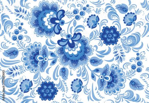 Fotografia  Vector seamless pattern in traditional russian gzhel style