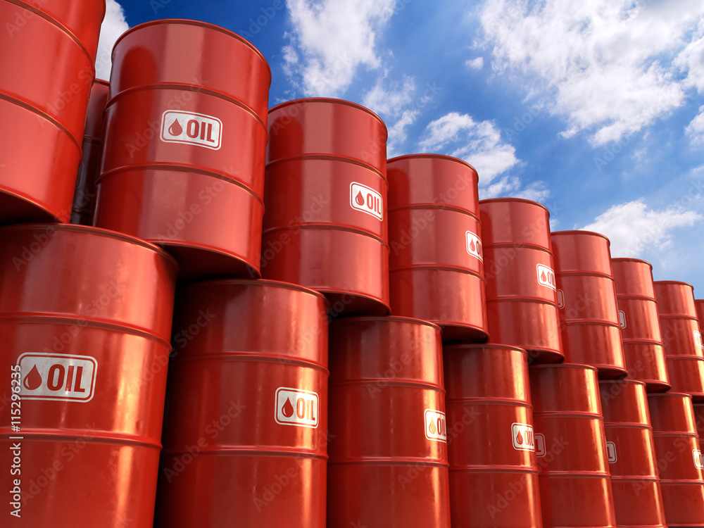 Fototapety, obrazy: 3d illustration a Rows of Classic Metal Oil Barrels Drum