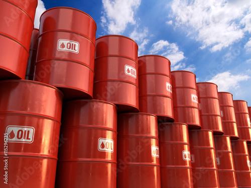 Fotografía 3d illustration a Rows of Classic Metal Oil Barrels Drum