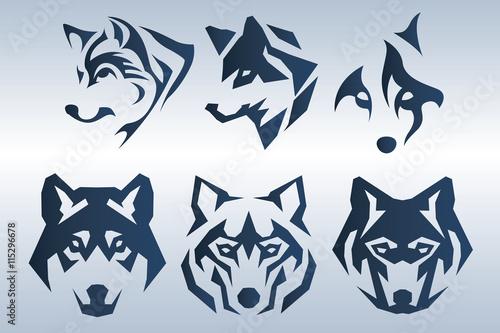 Photo  Illustration of dark blue wolf head logo on blue background
