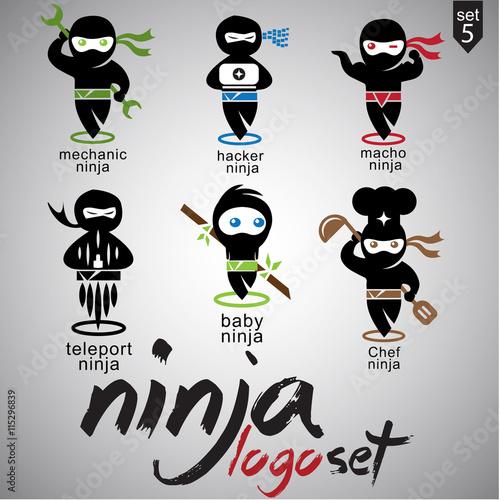 ninja logo set 5 Wallpaper Mural