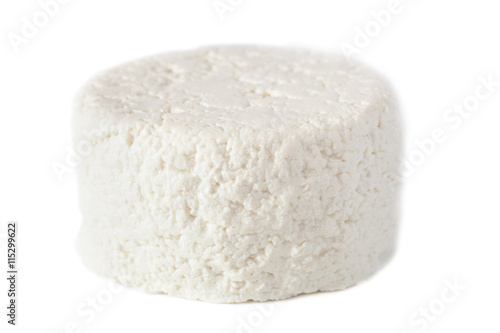 Staande foto Zuivelproducten cottage cheese isolated on a white background