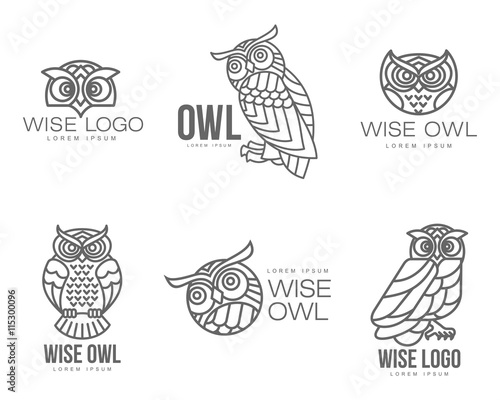 Photo Stands Owls cartoon Set of black and white owl logo templates. Vector illustration isolated on white background. Great owl logo templates for companies, schools and colleges