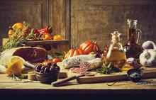 Retro Kitchen Still Life With Fresh Ingredients