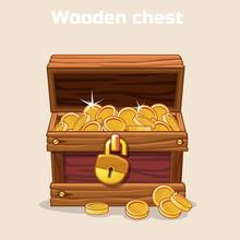 Opened Antique Treasure Chest ...