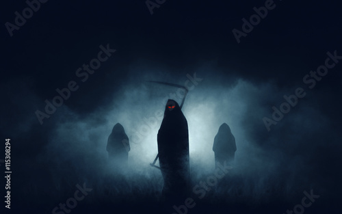 Fotomural Grim reaper, the death itself, scary horror shot of Grim Reaper in fog holding s