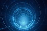 Fototapeta Do przedpokoju - Abstract futuristic 3D speed tunnel warp - space travel