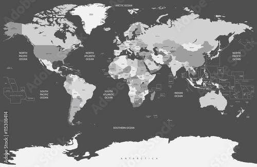 Fotobehang Wereldkaart political world map in grey scales
