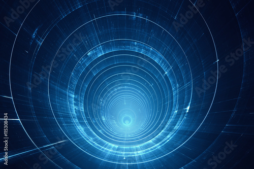 Abstract futuristic 3D speed tunnel warp - space travel Canvas