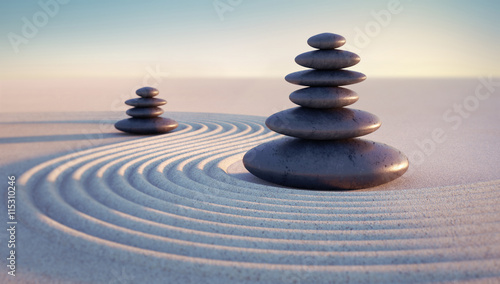 Printed kitchen splashbacks Stones in Sand Steintürme mit Sandwellen in Abendstimmung
