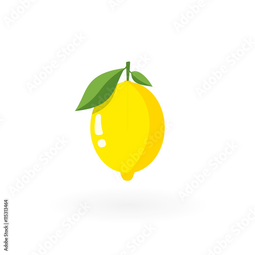 Fresh lemon with leafs isolated on white. Fototapete