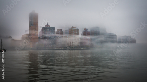 New York Skyline Manhattan Nebel