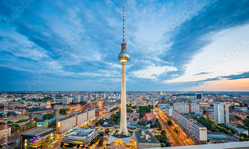 Poster Berlin Berlin skyline with TV tower at twilight, Germany