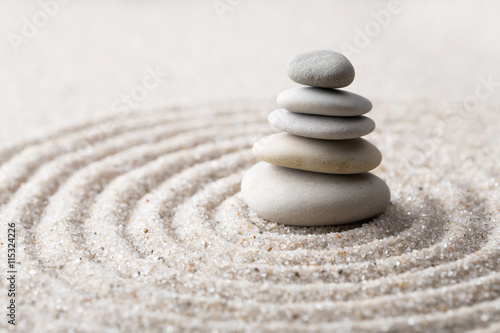 Photo  Japanese zen garden meditation stone for concentration and relaxation sand and r