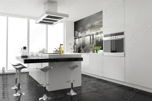 Elegant Modern Funktional Weiss Küche Einbauküche Kochinsel