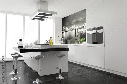 Modern Funktional Weiss Küche Einbauküche Kochinsel