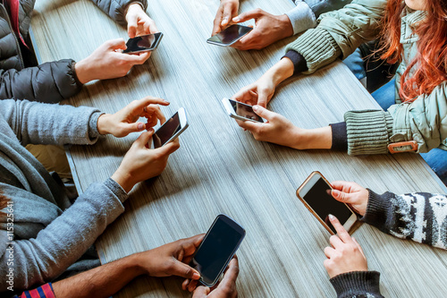 Fotografie, Tablou  friends using smart phones top view