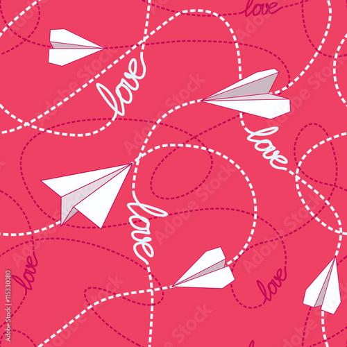 Materiał do szycia Samoloty papieru miłość bez szwu