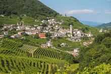 Valdobbiadene Town And Prosecco Vineyards In Veneto