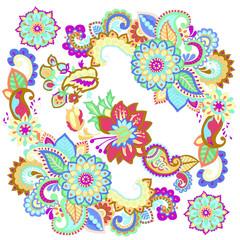 узор из цветов, декоративные элементы