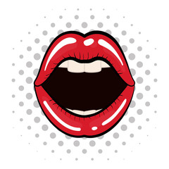 Pop art concept represented by female mouth icon. Colorfull illustration. White background