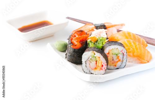 Fototapeta Mix Sushi isolated obraz