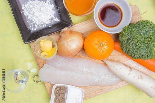 Photo  Ingredient of Dory fish steak