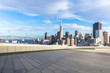 empty floor with cityscape and skyline of san francisco in sunny