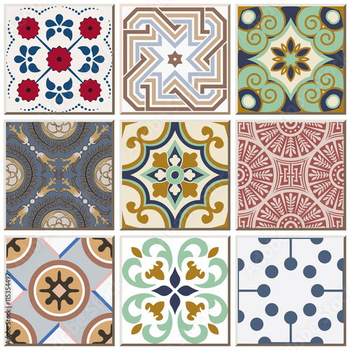 Deurstickers Marokkaanse Tegels Vintage retro ceramic tile pattern set collection 041