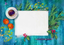 Christmas Watercolor Top View Background