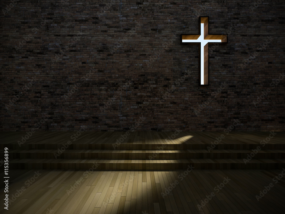 Fototapety, obrazy: 3d modern church interior