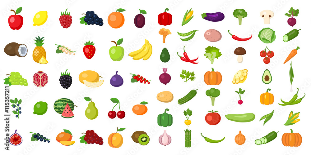 Fototapeta Set of fruits and vegetables. Different colorful vegetables and fruits. All kinds of green vegi and fruit for cooking meals, planting in garden.